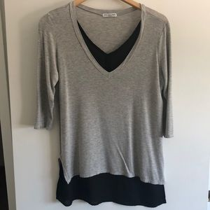 Gray and black layered 3/4 sleeve top